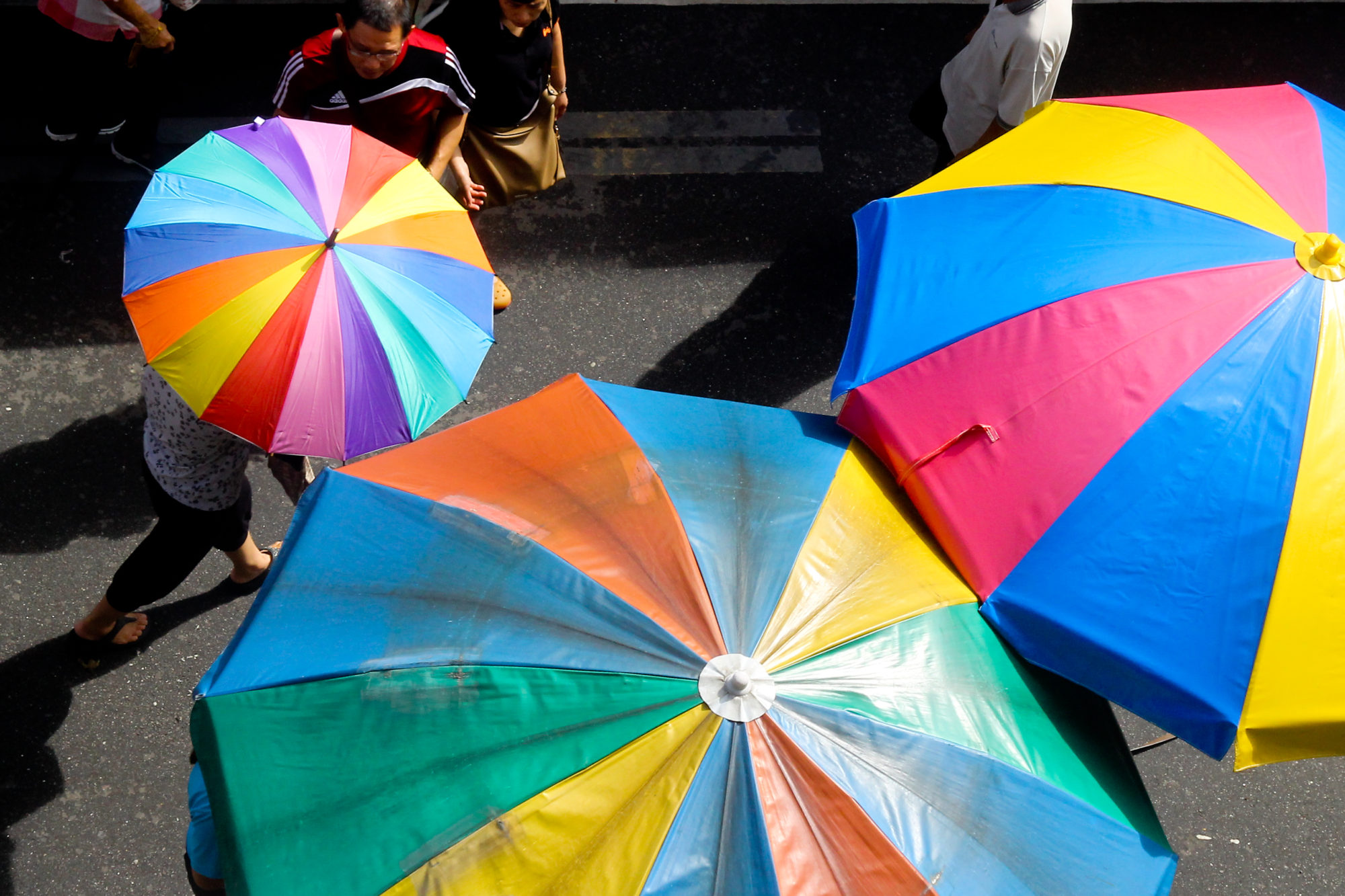 Colorful umbrellas at Chowrasta market, Penang.